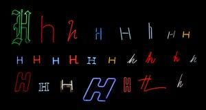 neon för samlingsH-bokstav Arkivfoton
