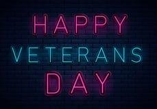 Neon för veterandag vektor illustrationer