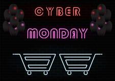 Neon führte Zeichen auf Backsteinmauer Cyber Montag stock abbildung