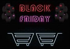 Neon führte Zeichen schwarzen Freitag vektor abbildung
