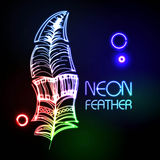 Neon feather. Abstract decorative neon colorful feather Stock Image
