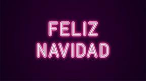 Neon feestelijke inschrijving voor Spaanse Kerstmis Royalty-vrije Illustratie