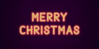 Neon feestelijke inschrijving voor Vrolijke Kerstmis Royalty-vrije Illustratie