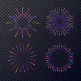 Neon fireworks set isolated on transparent background. Sunburst, star for tag, emblem, logo, stamp, logotype, t shirt, banner. Vector Illustration 10 eps Stock Image