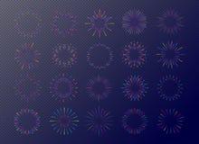 Neon fireworks set isolated on transparent background for tag. Emblem, logo, stamp, logotype, t shirt, banner. Sunburst, star. Vector Illustration 10 eps Stock Photos