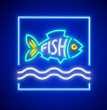 Neon fish silhouette above waves of water. Neon fish silhouette on waves of water. Sign icon with nighttime neon illumination for restaurant or shop signboard Stock Images