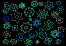 Neon flowers. On a black background royalty free illustration