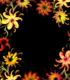 Neon flowers. Frame on black Royalty Free Stock Images