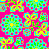 Neon flowers seamless background Stock Photo