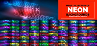 Neon flowing lines and waves backgrounds. Mega collection of particles waves flowing. 3d futuristic technology style. vector illustration
