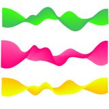 Neon flowing wave. gradient abstract shapes isolated on white. Green, pink and yellow vibrant fluid colors. Vector set royalty free illustration