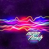 Neon fodrar ny Retro vågbakgrund med 80-talvhs-stil Royaltyfri Bild