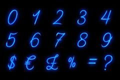 Neon font blue alphabet number numeric word text series symbol s. Ign on black background, neon numeric decoration text for advertisement royalty free stock images