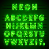Neon font city. Neon green font eps. Lamp green font. Alphabet font. Vector illustration Royalty Free Stock Photography