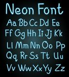 Neon font for english alphabets vector illustration