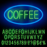 Neon font gren. Green Neon Alphabet Set for Signs. Realistic vector font set Royalty Free Stock Photo