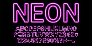 Neon font in purple color royalty free illustration