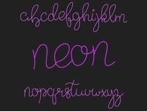 Neon font. Script alphabet with shiny glow effect Stock Photo