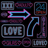 Neon font set Royalty Free Stock Photo