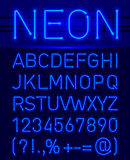 Neon font and symbols Stock Photo