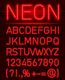 Neon font and symbols Royalty Free Stock Images