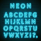 Neon font text. blue english Lamp. Alphabet . Vector illustration Stock Image