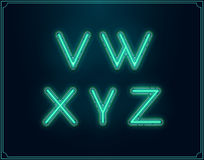 Neon Font Type Alphabet. Glowing in Vector. Stock Photography