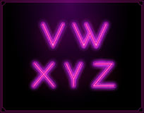 Neon Font Type Alphabet. Glowing in Vector. Royalty Free Stock Photography