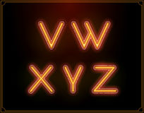 Neon Font Type Alphabet. Glowing in Vector. Stock Image