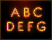Neon Font Type Alphabet. Glowing in Vector. Royalty Free Stock Image