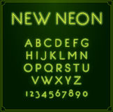 Neon Font Type Alphabet. Glowing in Vector. With Numbers. Stock Image