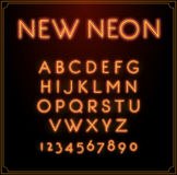 Neon Font Type Alphabet. Glowing in Vector. With Numbers. Stock Images