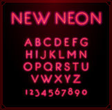 Neon Font Type Alphabet. Glowing in Vector. With Numbers. Royalty Free Stock Photos