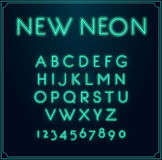 Neon Font Type Alphabet. Glowing in Vector. With Numbers. Royalty Free Stock Photography