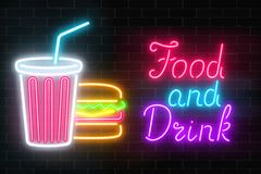 Neon food and drink glowing signboard on a dark brick wall background. Plastic cup of beverage and burger signs. royalty free illustration