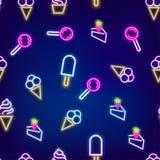 Neon food seamless pattern Stock Photos