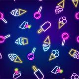 Neon food seamless pattern. Cafe colored sweet fruit banner. Advertise dessert symbol set bar. Night lamp shine billboard vector illustration label icon design Royalty Free Stock Images