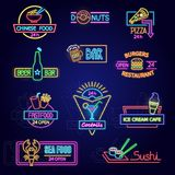 Neon food vector glowing illuminated advertisement of fastfood beer bar or restaurant illustration set of advertising. Signboard design of different colors royalty free illustration