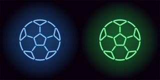 Neon football ball in blue and green color. Vector illustration of soccer ball consisting of outlines, with backlight on the dark background Royalty Free Stock Photos