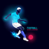 Neon Football Player Striker Royalty Free Stock Photo