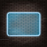 Neon frame on the brick wall. Neon frame hanging on the brick wall. Stock illustration royalty free illustration