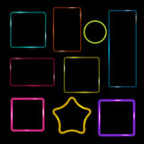 Neon Frame,  Buttons on Checkered  Abstract Transparent Backgrou Royalty Free Stock Photos