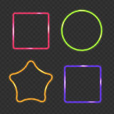 Neon Frame, Rectangular, Star and Round Buttons on Checkered  Ab Royalty Free Stock Photo