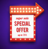 Neon frame sale offer with lights Stock Images