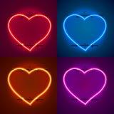 Neon frame sign in the shape of a heart. Set color. template design element. Vector illustration stock illustration