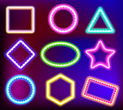 Neon frame for text. Neon framework for text. Neon light in the form of star,circle,square and other forms.Vector illustration of neon sign for a casino.Shining Royalty Free Stock Photography