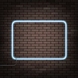 Neon frame on the wall. Stock Photography