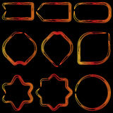 Neon frames of red, orange and yellow shades with space for text message Stock Photos