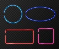 Neon frames vector set on black transparent background Stock Photography