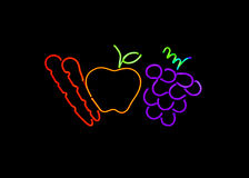 Neon fruit and vegetables sign Royalty Free Stock Image
